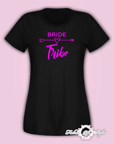 Hen Do Party Bride Tribe  T-shirt Ladies Female Pink Lettering