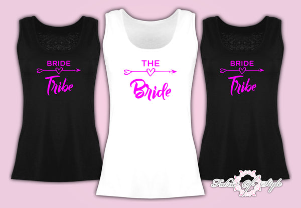 Vest Tank Top Hen Do Party Bride Tribe Wedding T-shirt Ladies Female  Pink