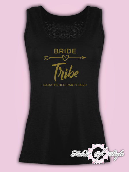 Vest Tank Top Hen Do Party Bride Tribe Wedding  Personalised T-shirt Ladies Female  Gold