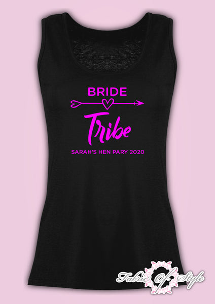 Vest Tank Top Hen Do Party Bride Tribe Wedding  Personalised T-shirt Ladies Female Pink