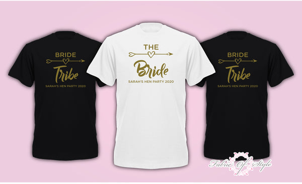 Size Plus & Curve Hen Do Party Bride Tribe Personalised T-shirt Ladies hen party wedding -  Gold