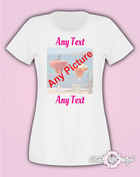Hen Party Personalised Custom Photo Your Image Printed T-shirt Ladies