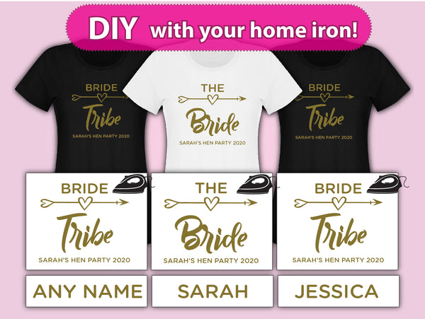 Bride Tribe Iron On T Shirt Transfer 2020 Squad Hen Do Party Vinyl  Gold