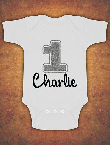 Personalised My First 1st Birthday Baby Kids Body Suit Vest Glitter Silver Boy