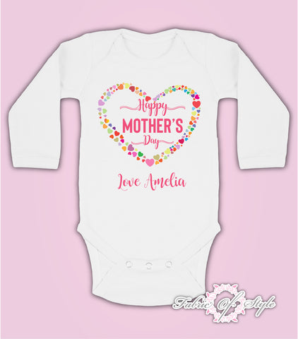 Personalised Hearts Happy Mothers Day Baby Kids  Suit Long Sleeve Vest Girl