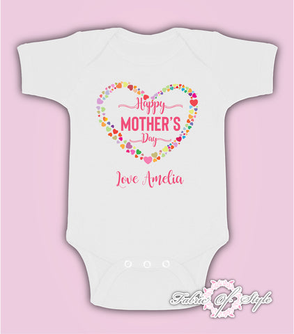 Personalised Hearts Happy Mothers Day Baby Kids 2020 Body Suit Vest Girl