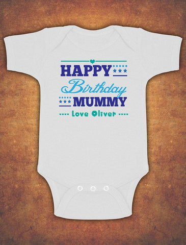 Personalised Happy Mummy Birthday Baby Kids Present Grow Body Suit Vest Boy