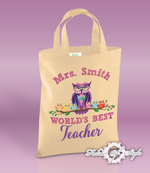 PERSONALISED Tote Bag Thank You Teacher School Gift  World's Best Natural