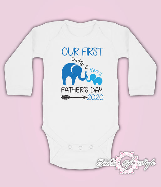 Personalised Elephant Our First Fathers Day Baby Kids Body Suit Long Sleeve Vest Boy