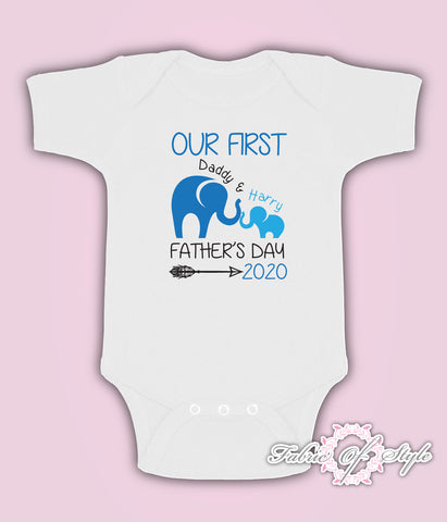 Personalised Elephant Our First Fathers Day Baby Kids  Body Suit Vest Boy