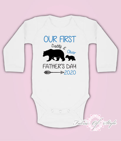 Personalised Bear Our First Fathers Day Baby Kids Body Suit Long Sleeve Vest Boy