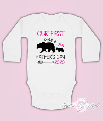 Personalised Bear Our First Fathers Day Baby Kids Body Suit Long Sleeve Vest Girl