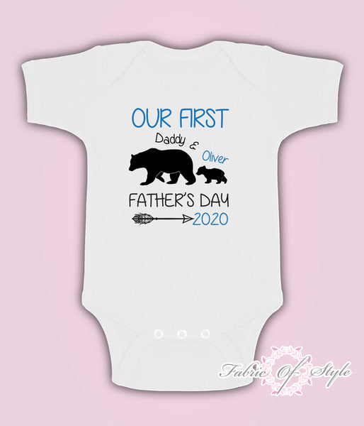 Personalised Bear Our First Fathers Day Baby Kids  Body Suit Vest Boy