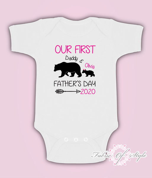 Personalised Bear Our First Fathers Day Baby Kids  Body Suit Vest Girl