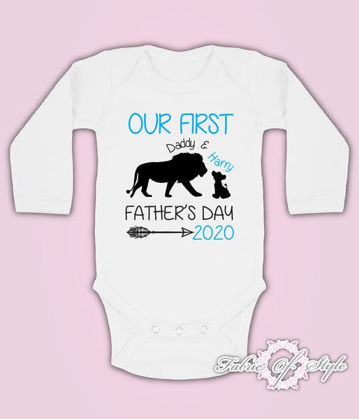 Personalised Lion Our First Fathers Day Baby Kids  Body Suit Vest Boy