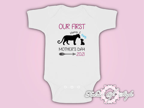 Personalised Lion  Our First Mothers Day Baby Kids 2021 Body Suit Vest Boy