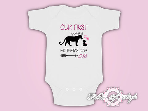 Personalised Lion  Our First Mothers Day Baby Kids 2020 Body Suit Vest Girl