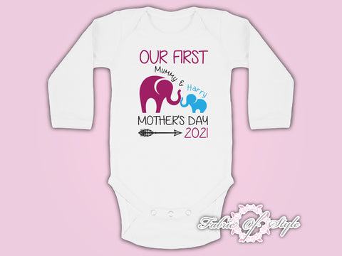 Personalised Elephant Our First Mothers Day  Baby Kids Body Suit Long Sleeve Vest Boy
