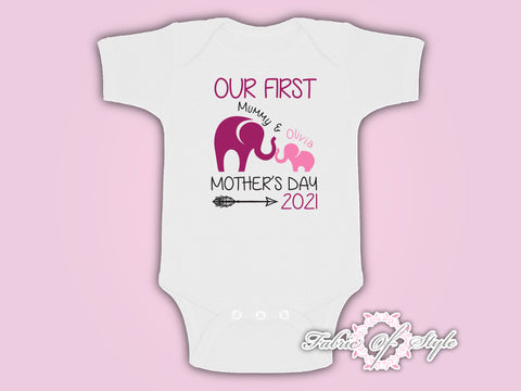 Personalised Elephant  Our First Mothers Day Baby Kids 2020 Body Suit Vest Girl