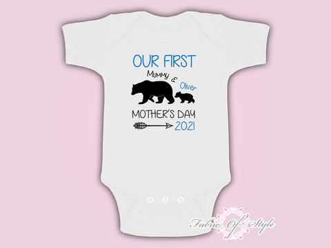 Personalised Bear Our First Mothers Day Baby Kids 2020 Body Suit Vest Boy
