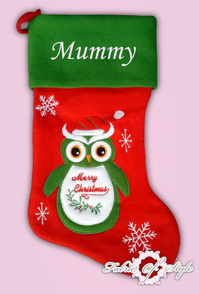 Personalised Owl Green Deluxe Luxury Embroidered Kids Christmas Stocking