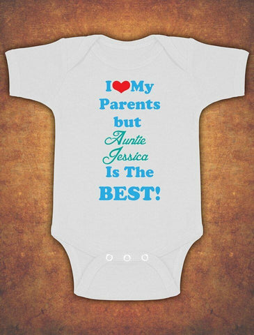Personalised I Love My Parents But Auntie Baby Kids Grow Body Suit Vest Boy