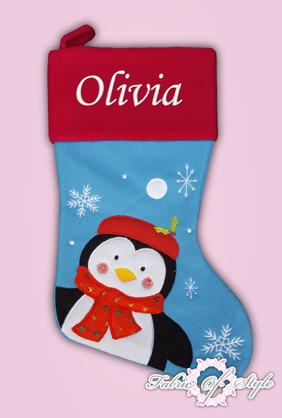 Personalised Luxury Embroidered Kids Christmas Stocking Penguin Blue