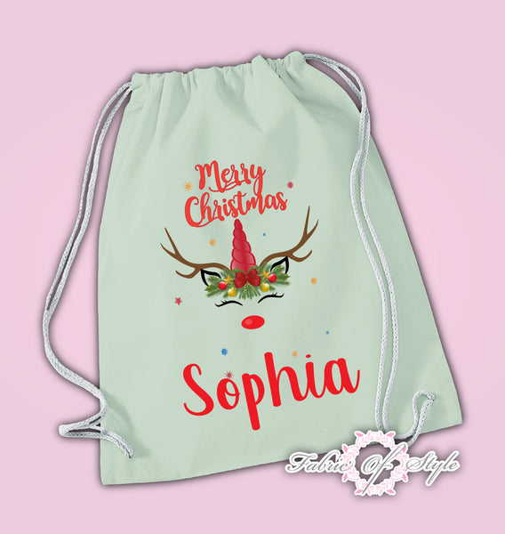 Personalised Unicorn Christmas Xmas Kids Baby Present Drawstring Bag Kids Pastel