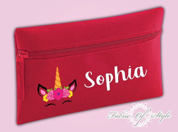 Personalised Unicorn Pencil Case Kids Office Stationery Back To School Zip School Bag