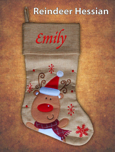 Personalised Hessian Luxury Embroidered Kids Christmas Stocking Reindeer Hessian