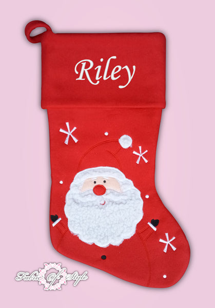 Personalised Red Luxury Embroidered Kids Christmas Stocking