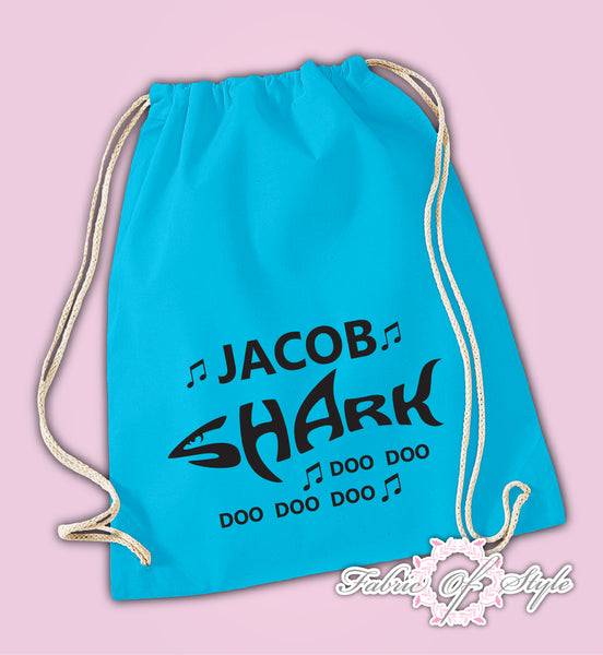 Personalised Baby Shark doo doo Back To Drawstring Bag PE GYM School Kids