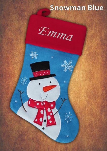 Personalised Luxury Embroidered Kids Christmas Stocking Snowman Blue