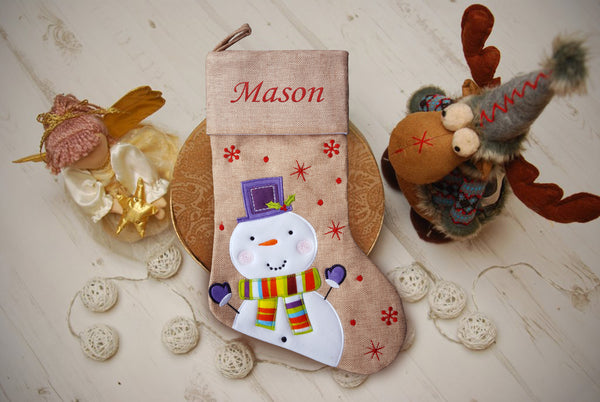 Personalised Hessian Luxury Embroidered Kids Christmas Stocking Snowman Coloured Scarf