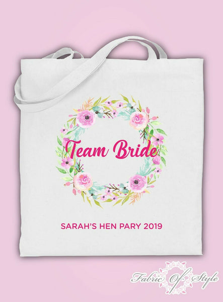 Wreath Personalised Floral Hen Do Party Custom Personalised Ladies Tote Bags