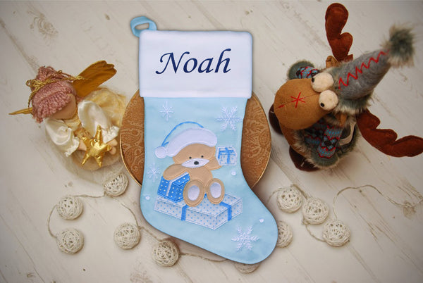 Personalised Kids Pink Blue Luxury Embroidered Kids Christmas Stocking