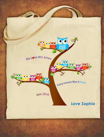 PERSONALISED Tote Bag Thank You Teacher School Gift Cotton Owl Design