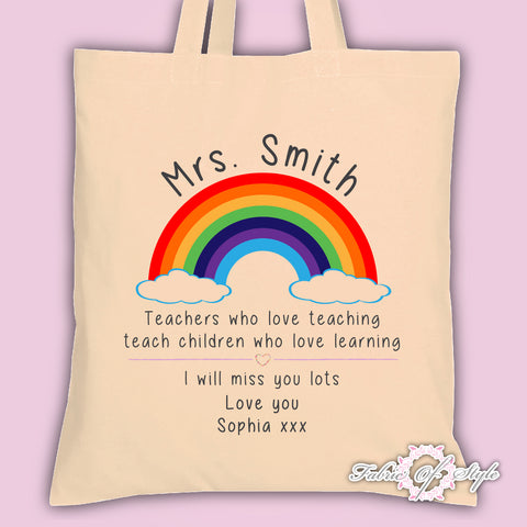 PERSONALISED  Tote Bag Thank You Teacher School Gift Rainbow Design Natural
