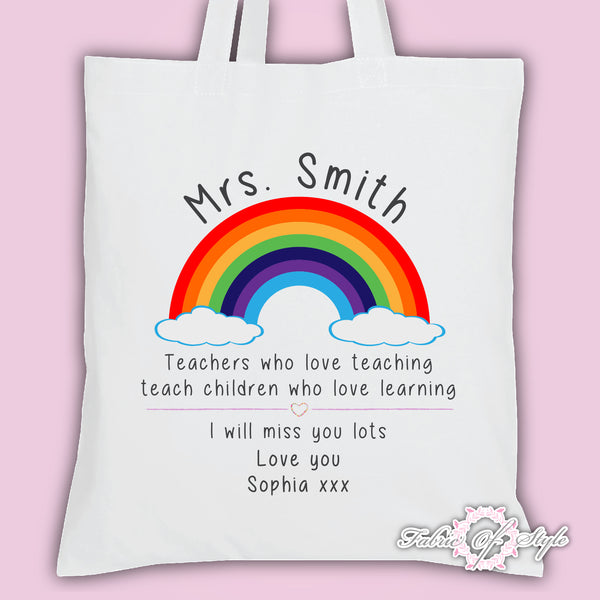 PERSONALISED  Tote Bag Thank You Teacher School Gift Lockdown Rainbow  Design White