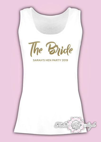 Vest Tank Top Team Bride Hen Do Party Tribe Personalised T-shirt Ladies Female Gold