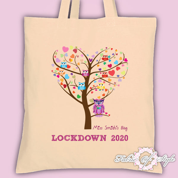 PERSONALISED Lockdown 2020 Tote Bag Thank You Teacher School Gift  Heart Tree Design Natural