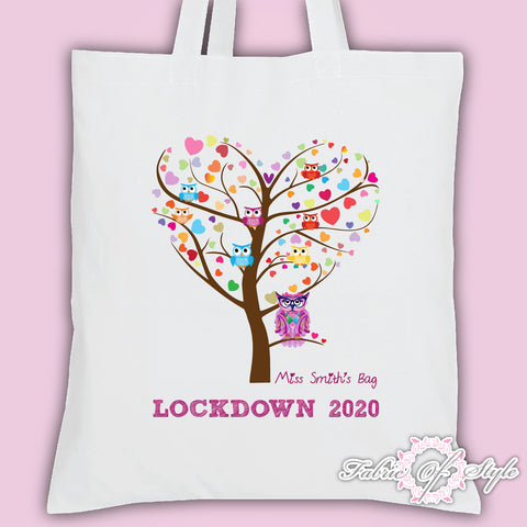 PERSONALISED Lockdown 2020 Tote Bag Thank You Teacher School Gift  Heart Tree Design White