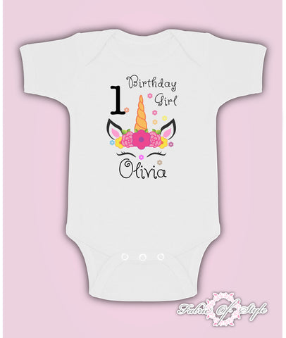 Personalised Birthday Any Name Age Unicorn Girl Baby Kids Grow Body Suit Vest