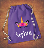 Personalised Any Name Unicorn Girls Back To Drawstring Bag PE GYM School Kids