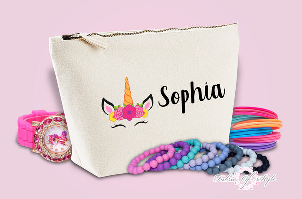 Personalised Unicorn Name Make Up / Wash Bag Christmas Gift Present Kids Natural