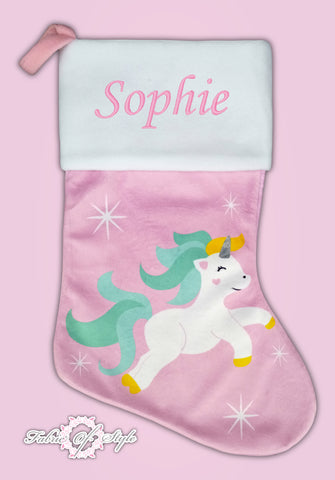 Personalised  Luxury Embroidered Kids Christmas Stocking Unicorn 2