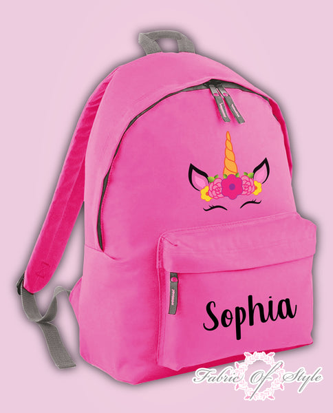 Personalised Kids Backpack - Any Name Unicorn Girls Boys Back To School Bag