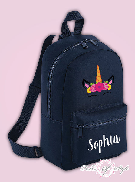 Personalised Kids Backpack - Any Name Unicorn Girls NURSERY Back To School Bag