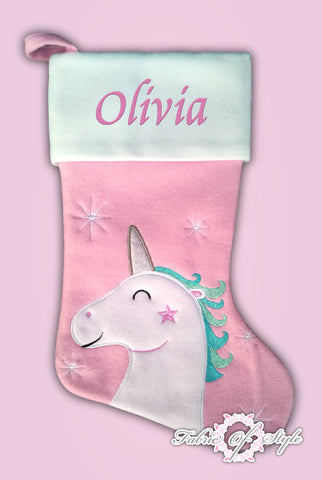 Personalised  Luxury Embroidered Kids Christmas Stocking Unicorn Silver Horn