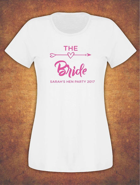 Hen Do Party Bride Tribe Personalised T-shirt Ladies Female Fushia